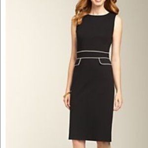 Talbots Black Shift Dress with White Piping
